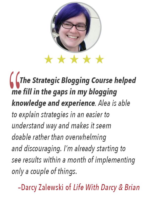 The Strategic Blogging Course testimonial